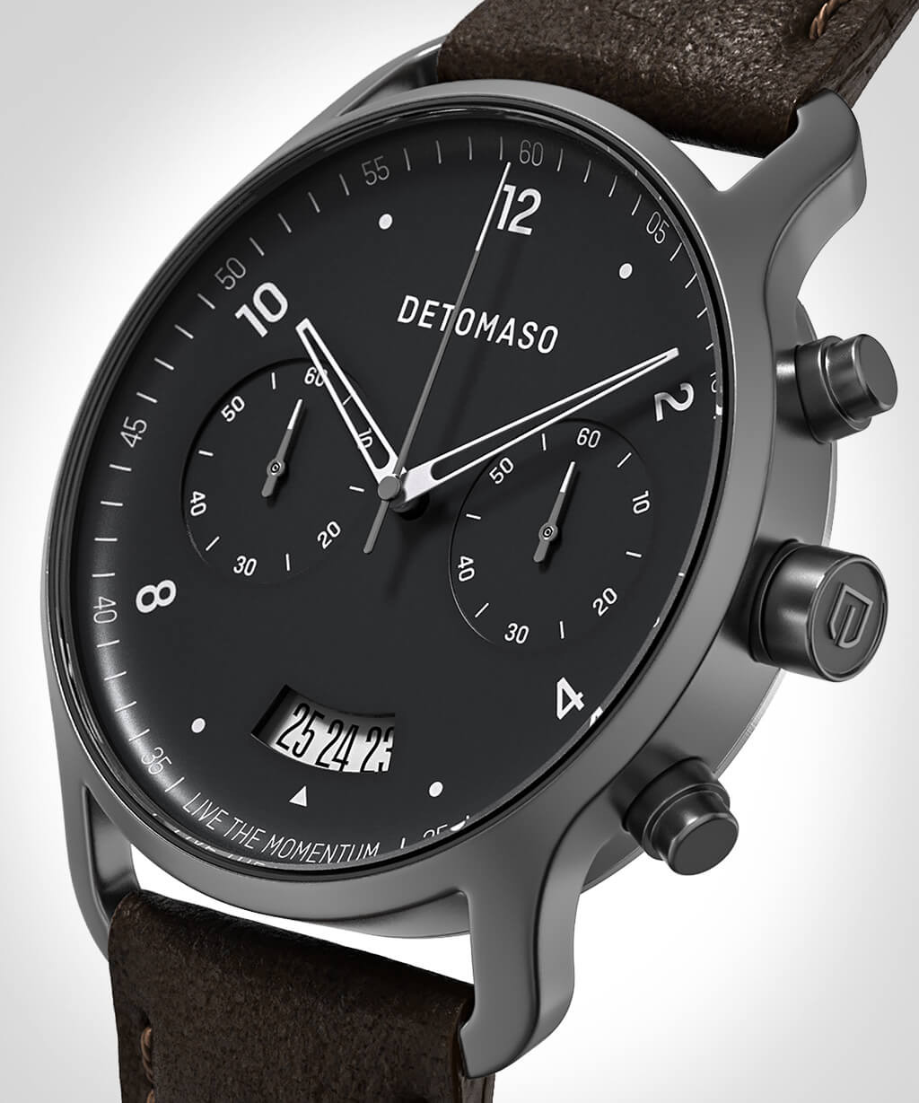 SORPASSO CHRONOGRAPH GREY - LEATHER STRAP DARK BRO
