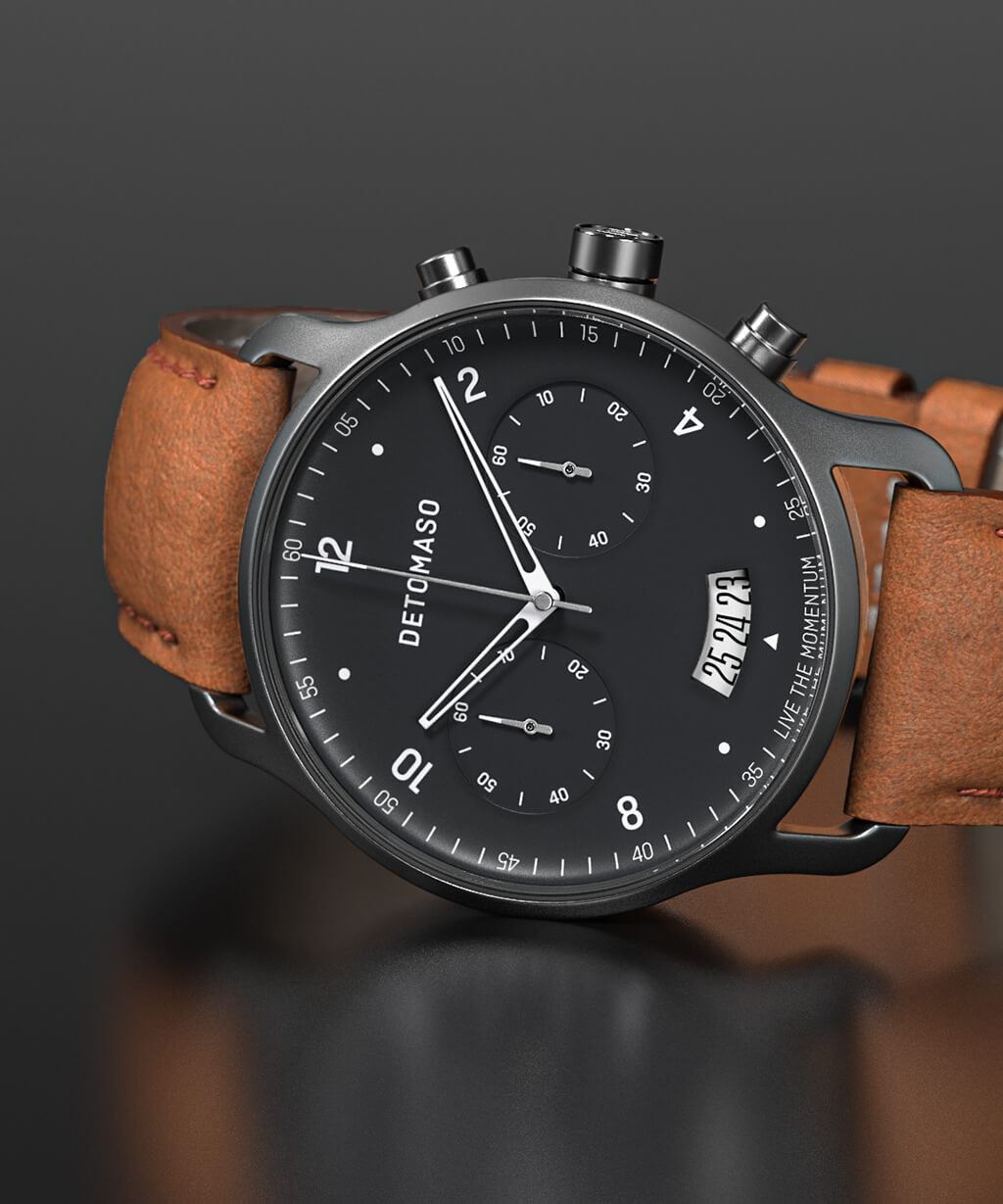 SORPASSO CHRONOGRAPH GREY - LEATHER STRAP BROWN