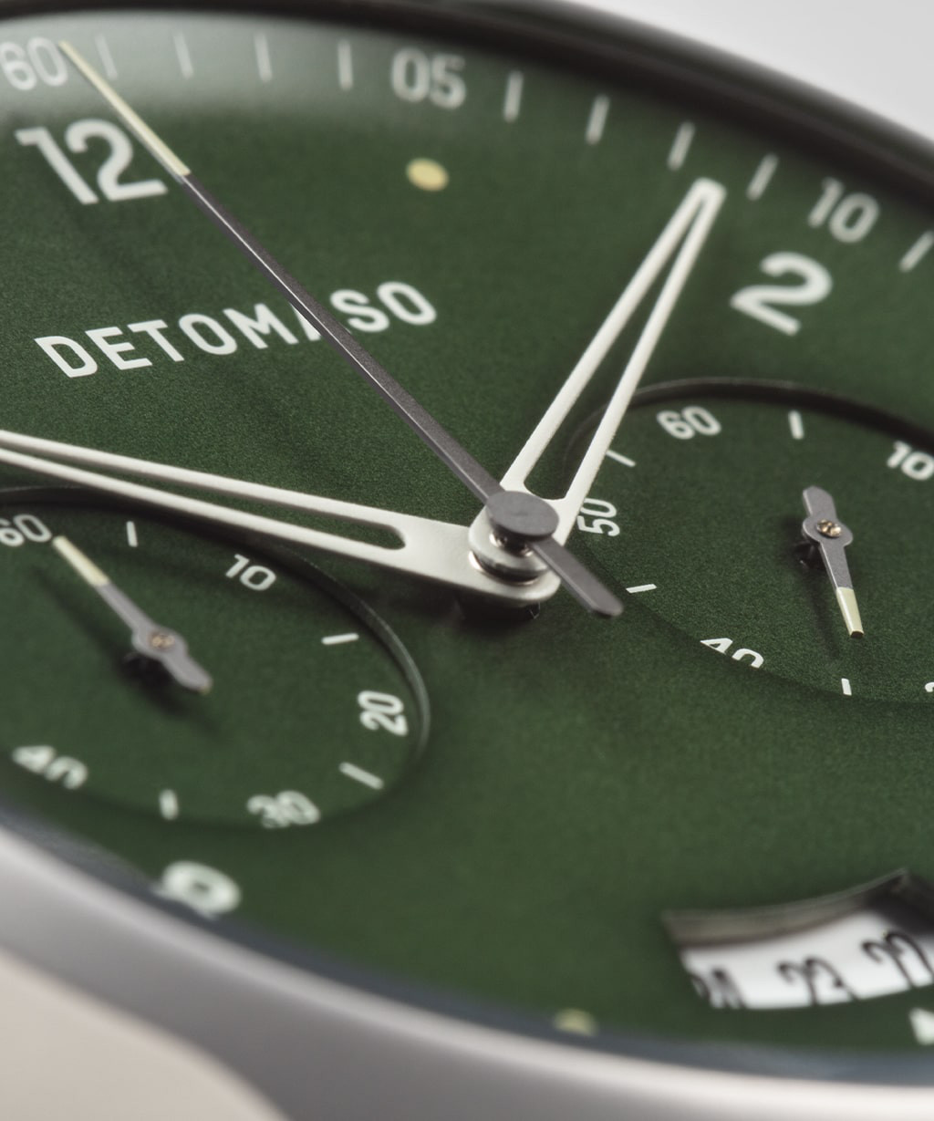SORPASSO CHRONOGRAPH GREEN - LEATHER STRAP GREY