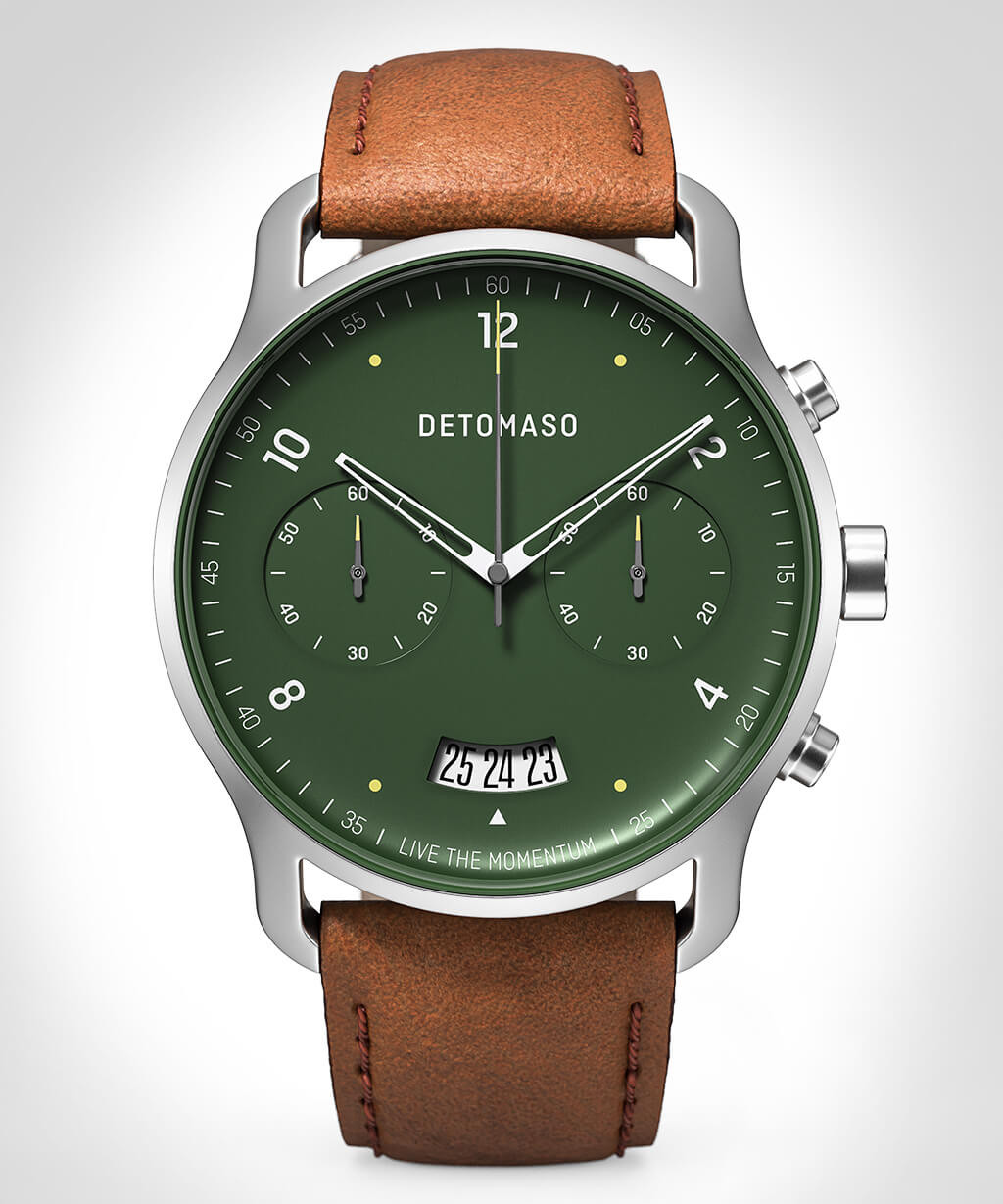 SORPASSO CHRONOGRAPH GREEN - LEATHER STRAP BROWN