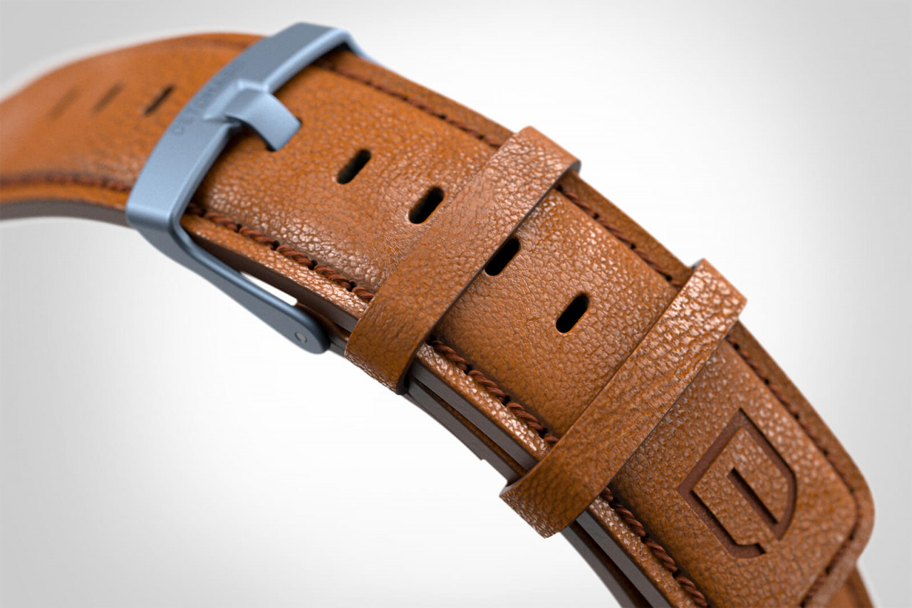 PARTENZA BLUE - LEATHER STRAP BROWN