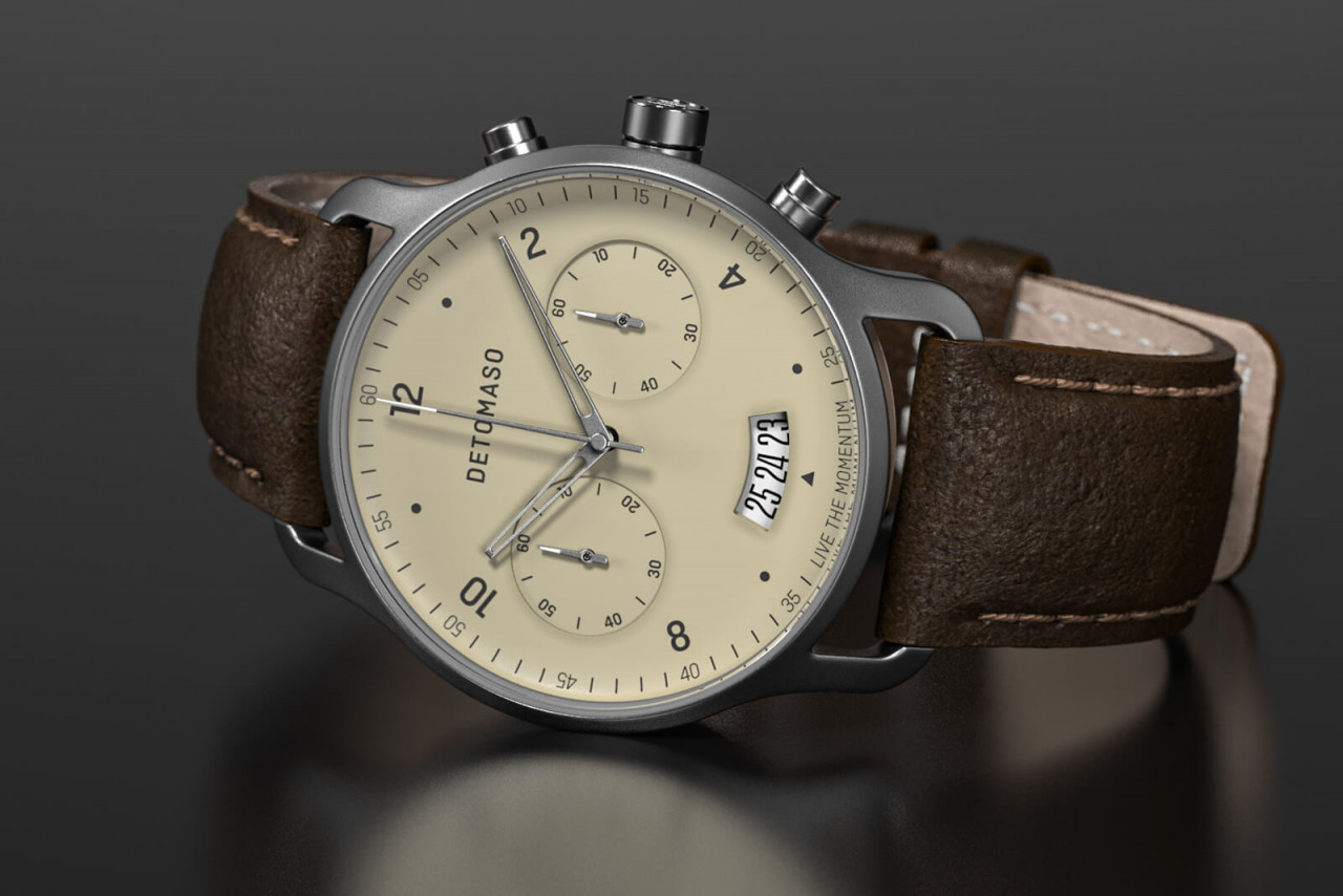 SORPASSO CHRONOGRAPH IVORY - LEATHER STRAP DARK BR