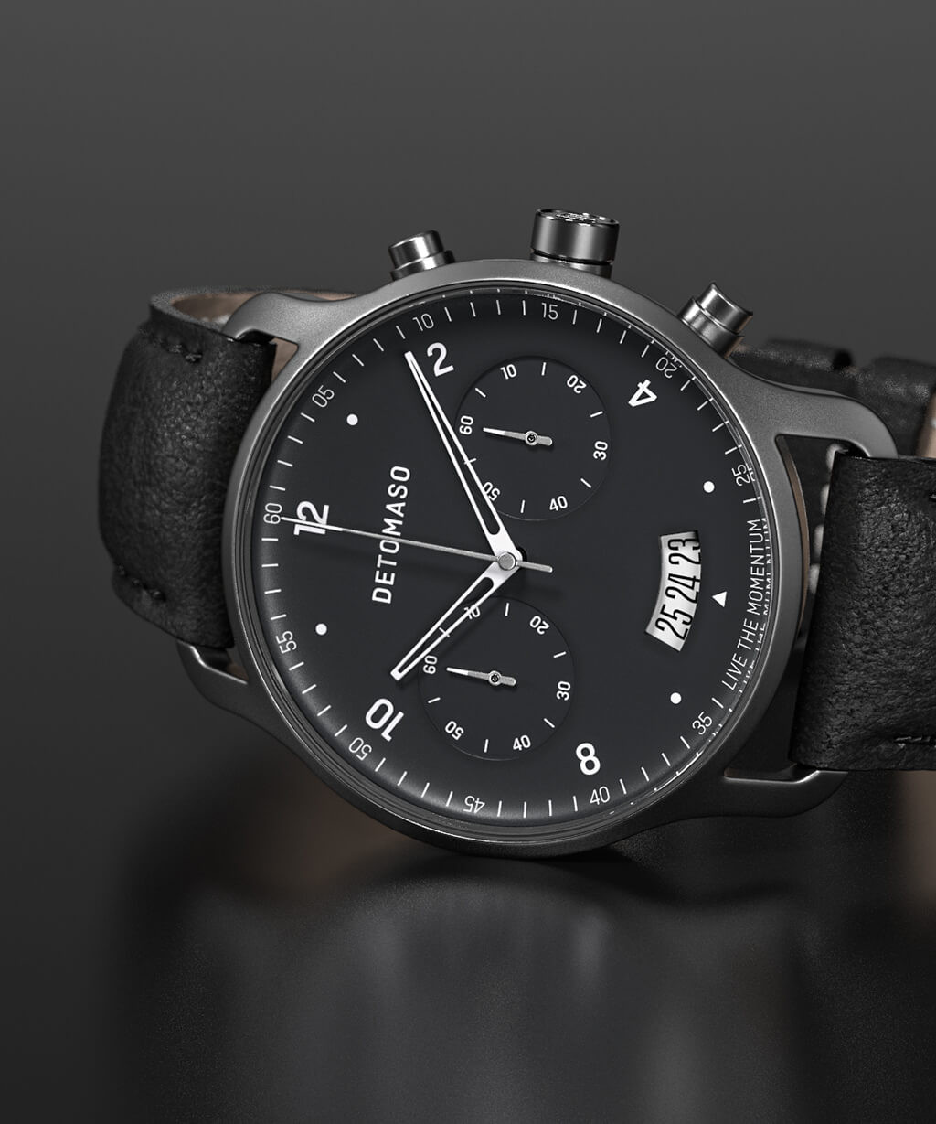 SORPASSO CHRONOGRAPH GREY - LEATHER STRAP BLACK