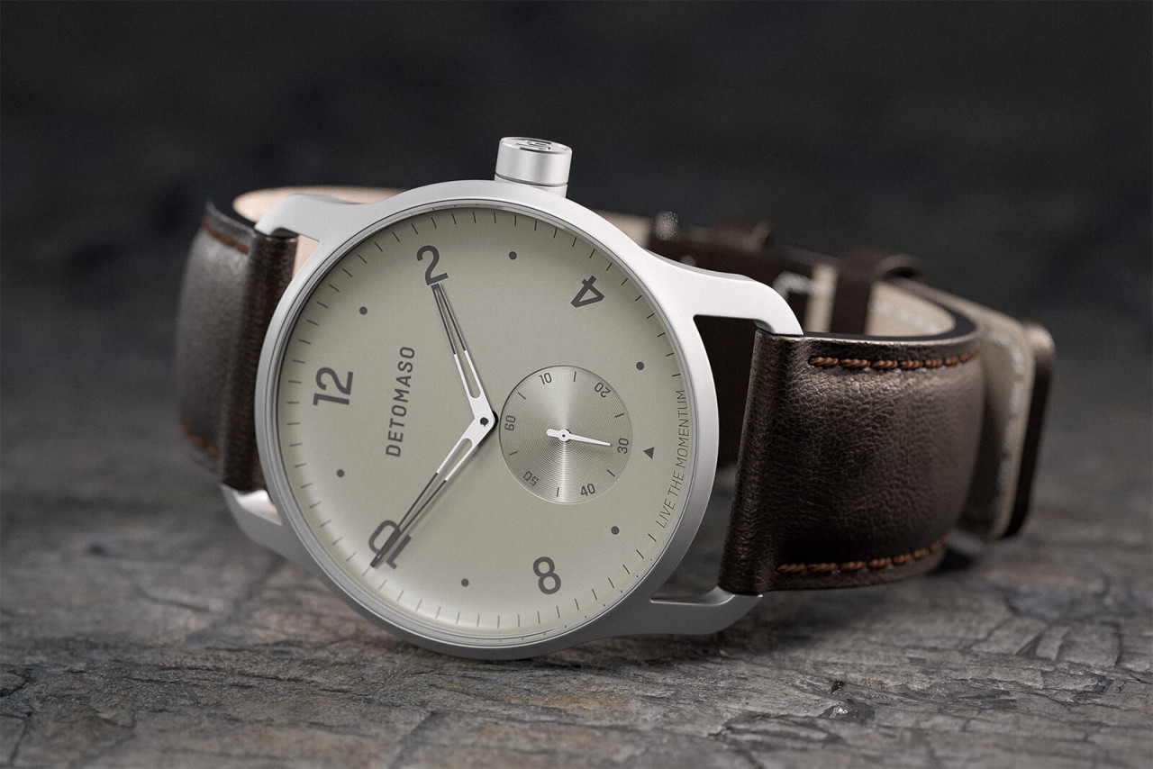 PARTENZA IVORY - LEATHER STRAP DARK BROWN
