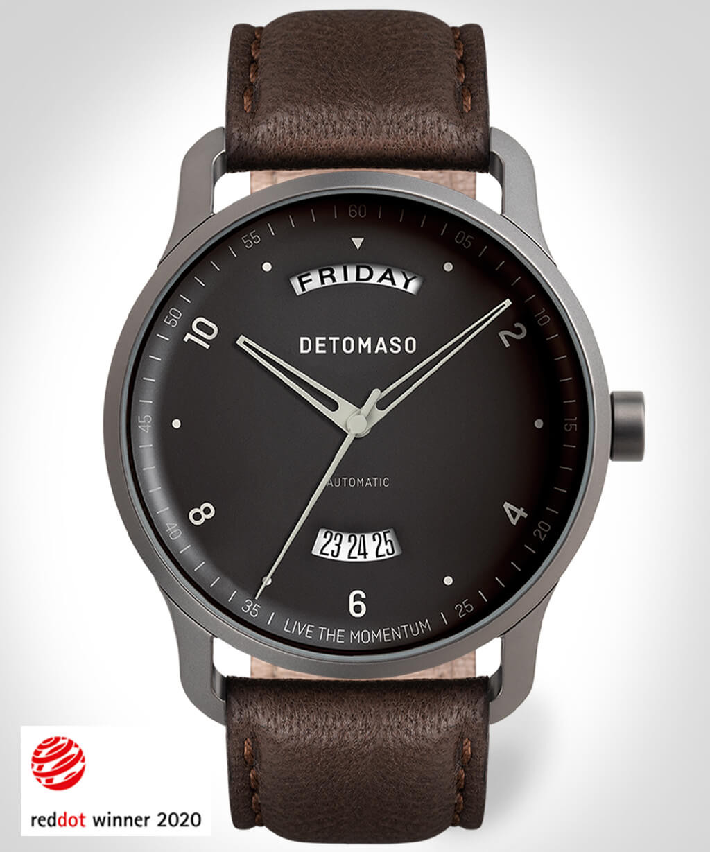 VIAGGIO AUTOMATIC GREY - LEATHER STRAP DARK BROWN