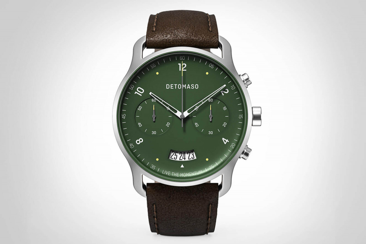 SORPASSO CHRONOGRAPH GREEN - LEATHER STRAP DARK BR