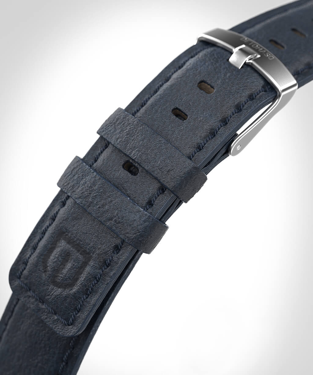 DETOMASO LEATHER STRAP BLUE - SILVER