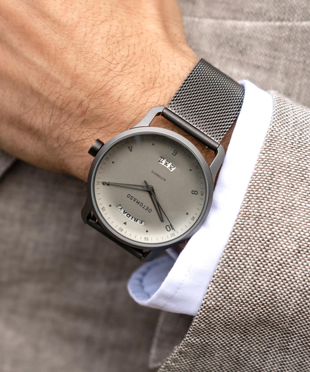 VIAGGIO AUTOMATIC IVORY MILANESE - MESH STRAP GREY