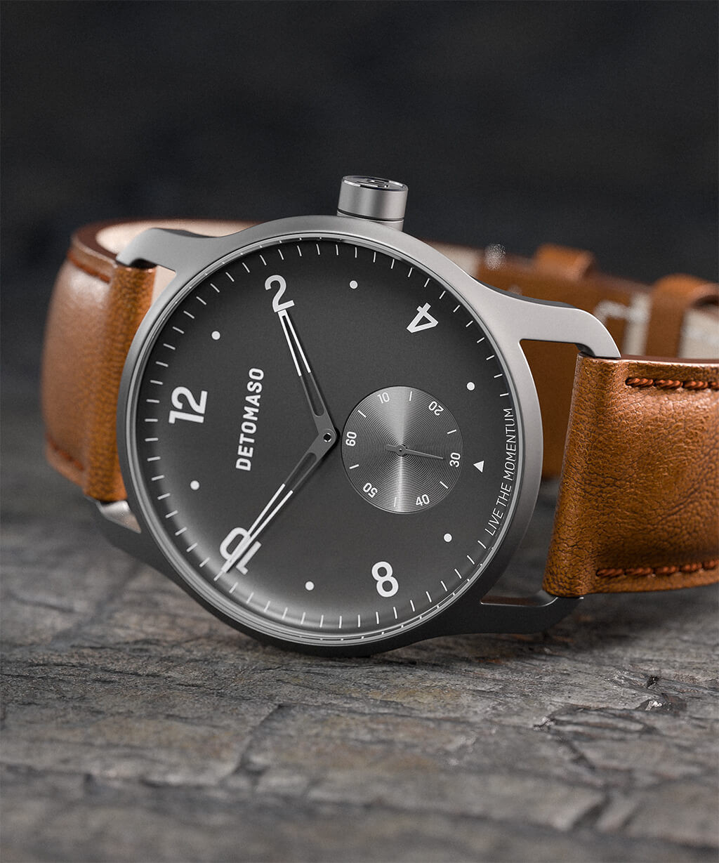 PARTENZA GREY - LEATHER STRAP BROWN