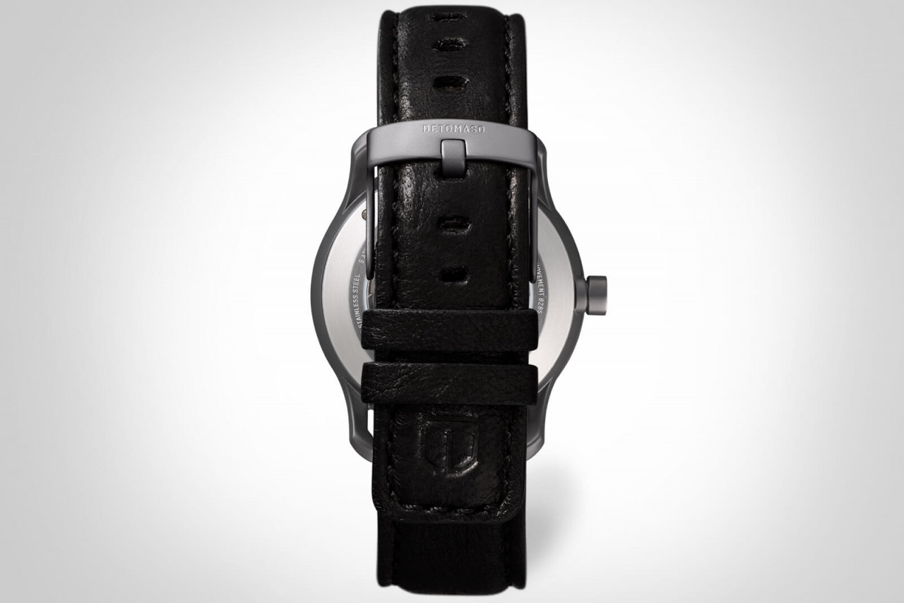 VIAGGIO AUTOMATIC GREY - LEATHER STRAP BLACK