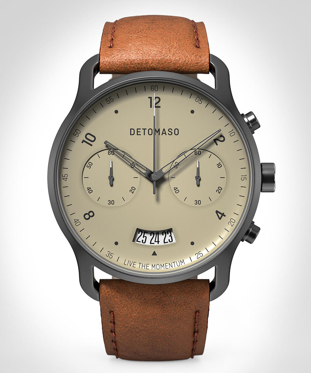 SORPASSO CHRONOGRAPH IVORY - LEATHER STRAP BROWN