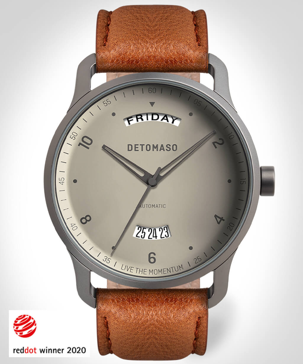 VIAGGIO AUTOMATIC IVORY - LEATHER STRAP BROWN