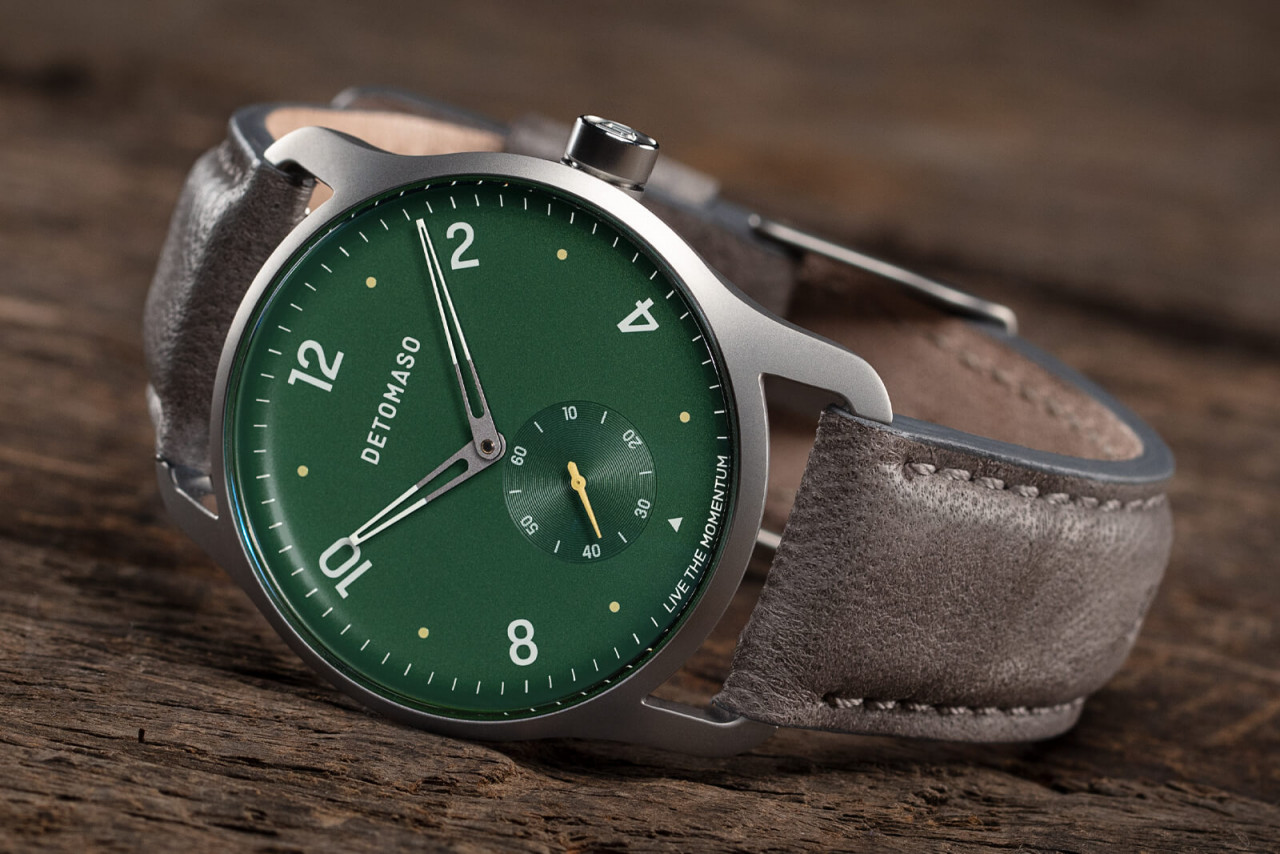 PARTENZA GREEN - LEATHER STRAP GREY