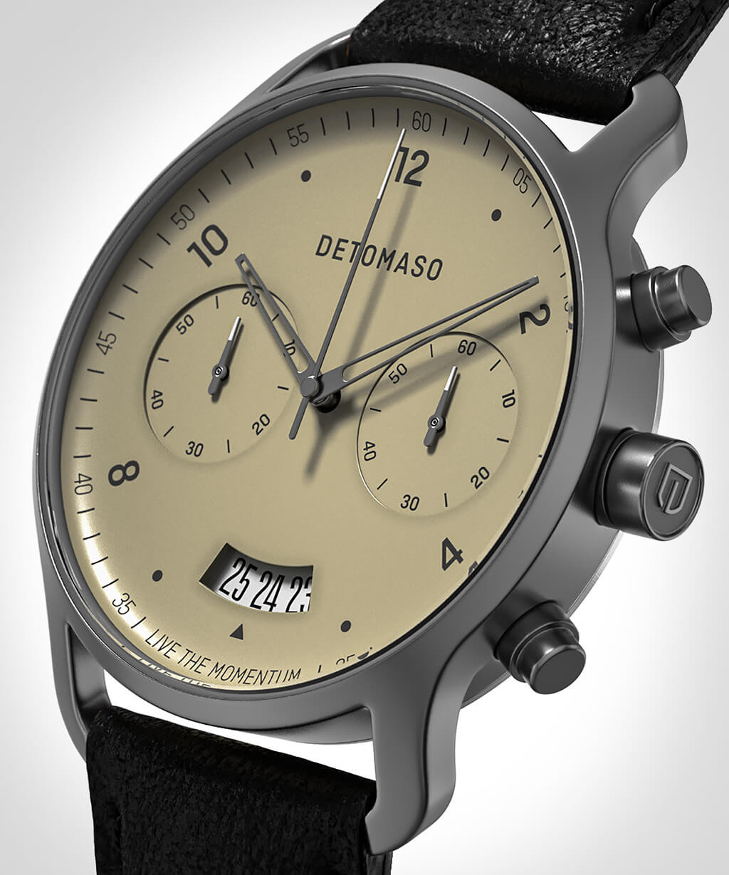 SORPASSO CHRONOGRAPH IVORY - LEATHER STRAP BLACK