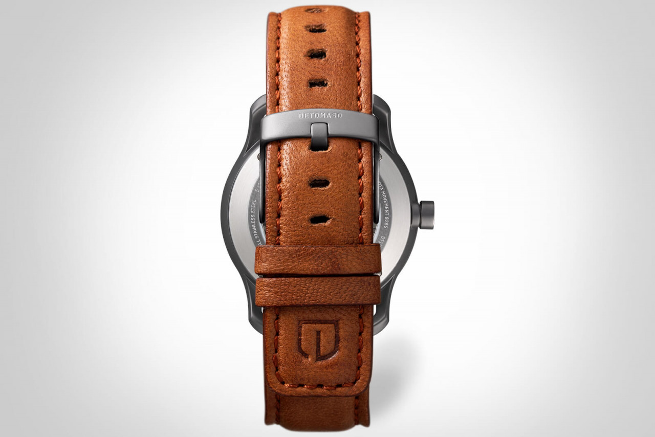 VIAGGIO AUTOMATIC GREY - LEATHER STRAP BROWN