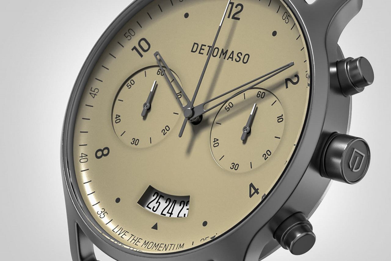 SORPASSO CHRONOGRAPH IVORY - LEATHER STRAP GREY